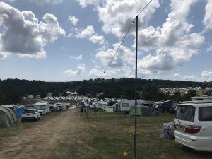 field full of camper vans