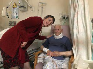 Liz visiting her dad in hospital