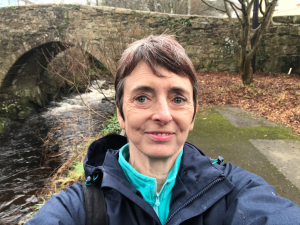 Liz beside Ivybridge's iconic bridge