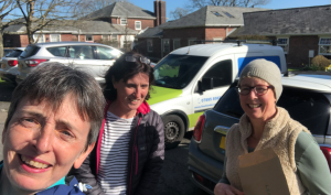 Liz out with neighbours delivering leaflets