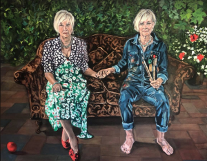 painting of two women sitting down