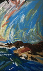 Oil painting of a wild sea