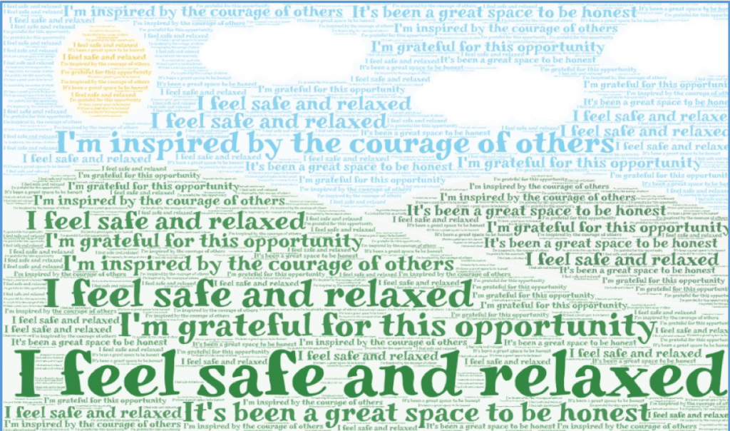 Word cloud sharing feedback from participants